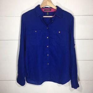 LAUREN Ralph Lauren 100% Linen Blue Blouse MEDIUM